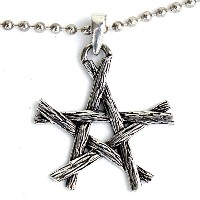 Witchcraft Magic Wicca Pagan Wiccanペンダント小枝Pentagram Star Pewter wシルバーボールチェーン
