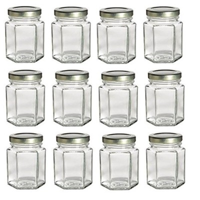(12, 180ml Hex w/Gold Lids) - PremiumVials 12 pcs, 180ml Hexagon Mason Jars with Gold Lids for Jam,...
