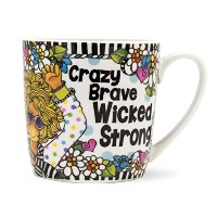 BrownlowキッチンSuzy Torontoセラミックマグ、Crazy Brave Wicked Strong