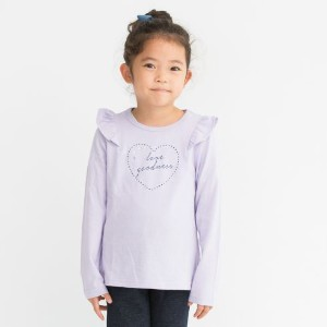 【3can4on(Kids) (サンカンシオン)】肩フリル&ハート長袖プルオーバーキッズ トップス|カットソー・Tシャツ パープル系