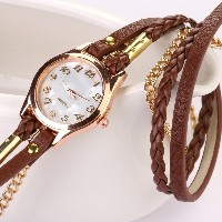 Emall 2015 Women Handmade Watches Weave Wrap Leather Bracelet Wristwatch Brown