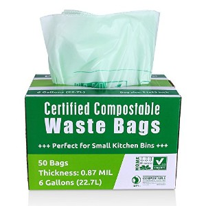 primode Compostableバッグ、食品廃棄物バッグ、100% astm13400認定生分解性堆肥バッグSmallキッチン6Gallon Trash Bags , certificate...