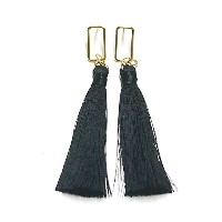 Rectangle Black Tassel Gold Plated Piece SV925 モノトーン