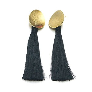Gold Moon Black Tassel Gold Plated Piece SV925 モノトーン