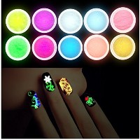10Pcs/set Luminous Nail Powder UV Gel Polish Glow In The Dark Glitter Fluorescent Nail Tip...