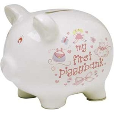 Baby Essentials My First Piggy Bank White with Dress and Pocketbook by Baby Essentials