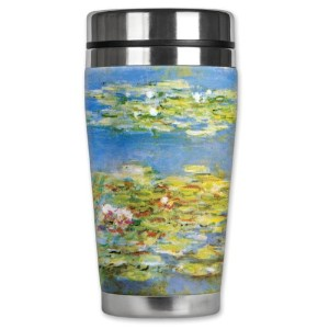 Mugzie Monet Water Lilies Travel Mug with Insulatedウェットスーツカバー、16オンス、ブラック