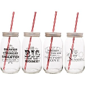 Home Essentials & Beyond Assorted 25 oz Sayings Mason Jar Glasses with Lids &ストロー、クリア
