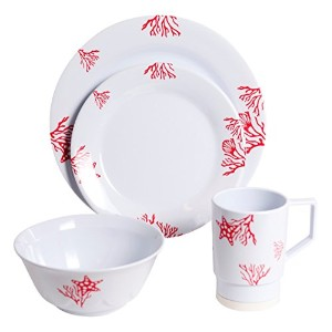 Galleyware 1091-l 24 Decoratedメラミン滑り止め24 Piece Dinnerwareギフトセット