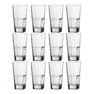 Set of 6 Epure 14 oz Square Stacking Glass Tumblers Heavyと耐久性イタリアガラス クリア 77739-set