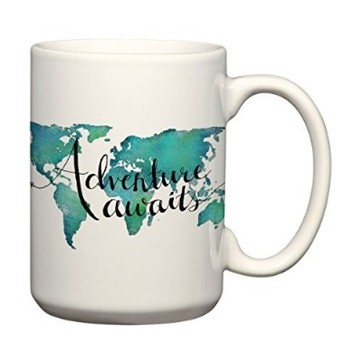 Adventure Awaits 15 oz MugワールドマップコーヒーマグTravel Quote Mug