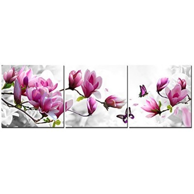 Natural art - Pink Flowers with Butterfly 3 Panels Stretched Canvas Wooden Framed Wall Art