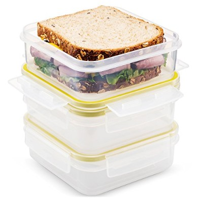 (Set of 3) - Komax Biokips Food Storage Sandwich Lunch Box Container 680ml (set of 3) - Airtight,...