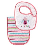 Luvable Friends Baby Bib and Burp Cloth Set, Pink by Luvable Friends