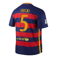 Nike Sergio #5 Barcelona Home Jersey 2015-16(Authentic name and number)/サッカーユニフォーム バルセロナFC ホーム用...