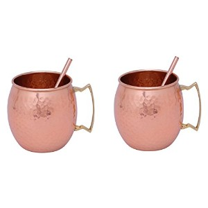 S & N Creation銅Moscow Mule mug-のセット2 2つDrinking Straw free-hammered