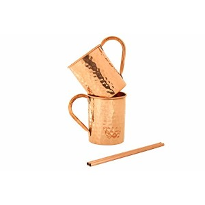 銅Moscow Muleマグカップ( Set of 2 ) Hammered 16 oz Pure – Authentic手作り製品製から100 % Pure Copper – Comes With...