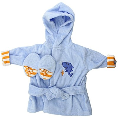 Luvable Friends Sea Character Woven Terry Baby Bath Robe with Slippers, Blue by Luvable Friends