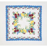 Vintage Cherries Tablecloth Cotton with Blue Border by Vintage [並行輸入品]