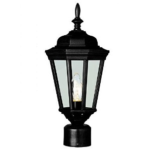 Transglobe Lighting 4096 BK Post Head with Clear Glass Shade, Black Finished [並行輸入品]