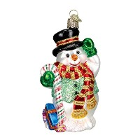 Old World Christmas Candy Cane Snowman Glass Ornament by Old World Christmas [並行輸入品]