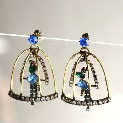 Michel's Vintage Beads Pierced Earringヴィンテージビーズピアス・バードゲージ