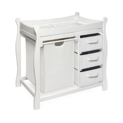 Sleigh Style Changing Table with Hamper & Three Baskets White by Badger Basket
