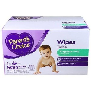 Parent's Choice - Unscented Baby Wipes, 500 ct by Parent's Choice