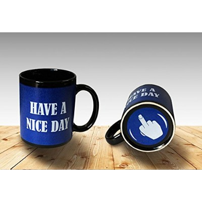 Funny Coffee Mug Have a Nice Day Middle Finger Funny Cup 11oz 100% Ceramic Mug Blue by Cortunex