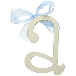 New Arrivals Wooden Letter A with Blue Solid Ribbon, Cream by New Arrivals
