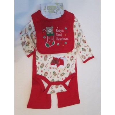 Baby Gear Baby's First Christmas 4-piece Set Size 6-9 Months Red (3-6, Red/ Bears) by Baby Gear