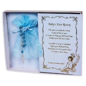 Pearl Baby Baptism Rosary with Lace Bag (Blue) by Simply Charming