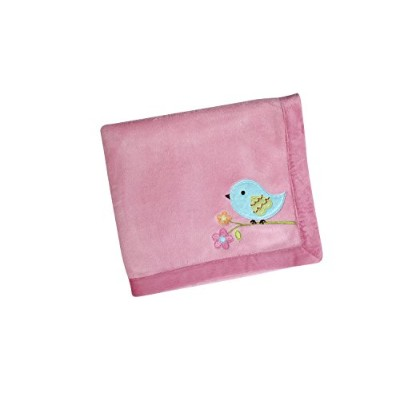 NoJo Love Birds Crib Bedding Set, Coral Fleece Blanket by NoJo