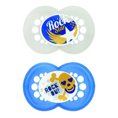 MAM Rock N' Roll Orthodontic Pacifier, Boy, 6+ Months, 2-Count by MAM