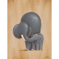 Oopsy daisy, Fine Art for Kids Safari Kisses Elephant Stretched Canvas Art by Sarah Lowe, 18 by 24...