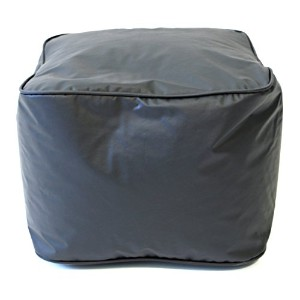 Gold Medal Leather Look Vinyl Ottoman, Small, Ebony by Gold Medal