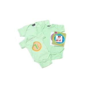 Mint - Belly Banter Baby Body Suit and 15 Stickers - Watch Me Grow Newborn Baby Gift Set - Gender...