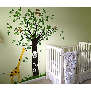 Pop Decors Removable Vinyl Art Wall Decals Mural for Nursery Room, Big Tree with Giraffe by Pop...