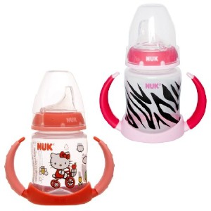NUK 2 Count Pretty In Pink Leaner Cup, 5 oz, Hello Kitty/Zebra by NUK
