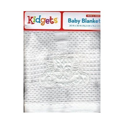 White Swaddle Heaven Sent Baby Blanket, Satin Edged. by Warm & Cozy