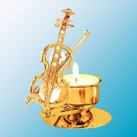 Violin Tea-Light..... With Clear Swarovski Austrian Crystal by Crystal Delight by Mascot
