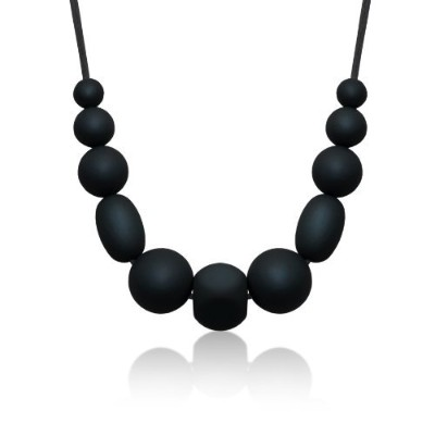 Siliconies Medley Necklace - Silicone Bead Necklace (Teething/Nursing) (Black) by Siliconies