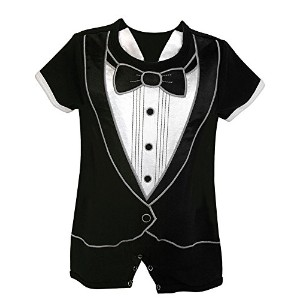 Stephen Baby Boy's Tiny Tux Romper Short 3-6 Months by Stephan Baby
