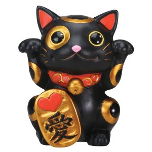 ブラックManeki Neko Money Lucky Cat Chinese Japanese Statue