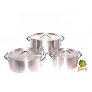 Uniware Heavy Gauge高品質アルミSauce Pot Set 6 Pcs Set (7 10 14 qt) シルバー 9010
