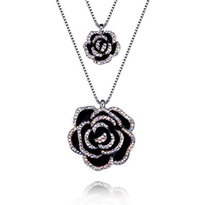 FappacダブルフラワーペンダントネックレスEnriched with Swarovski Crystals