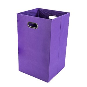 Modern Littles Folding Laundry Basket with Handles - High-Strength Polymer Construction - Folds for Easy Storage and Transportation - 13.75 Inches x 13.75 Inches x 22.75 Inches - Purple by Modern Littles