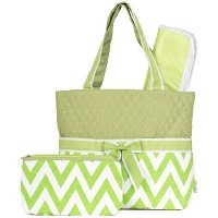 Ever Moda Green Chevron Quilted Diaper Bag with Change Pad by Ever Moda