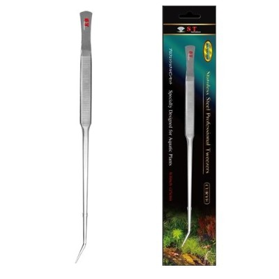 S.T. International Stainless Steel Curved Aquatic Plant Tweezers, 9.8-Inch by S.T. International