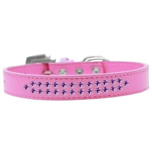 Two Row Purple Crystal Size 16 Bright Pink Dog Collar